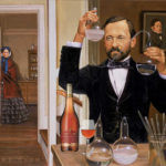 Pasteur Brewing Original - Louis Pasteur in laboratory with wine bottle