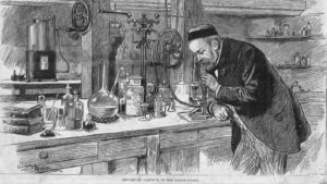 Louis Pasteur in his workshop with microscope