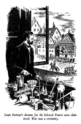 Louis Pasteur preparing sheep inoculations.