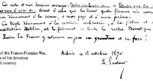 Louis Pasteur handwritten note
