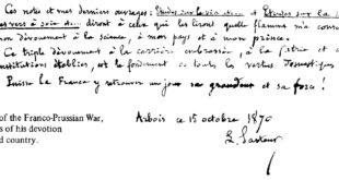 Louis Pasteur handwritten note