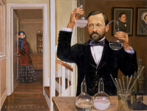 Pasteur conducting germ theory experiment in his laboratory