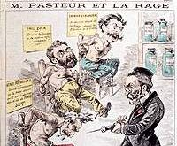 Satirical cartoon drawing of Pasteur and rabies vaccine